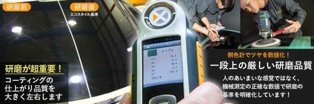 エコスタイル熊本のコーティング前の研磨基準(測色計使用)